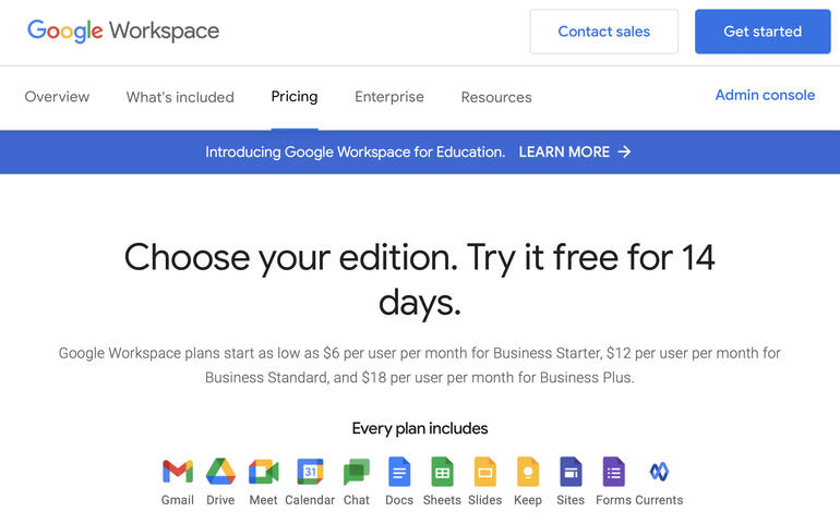 Screenshot of Google Workspace information page, which displays the icons 13 apps available to all editions of Workspace