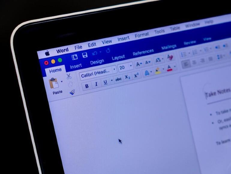 Microsoft Word on screen