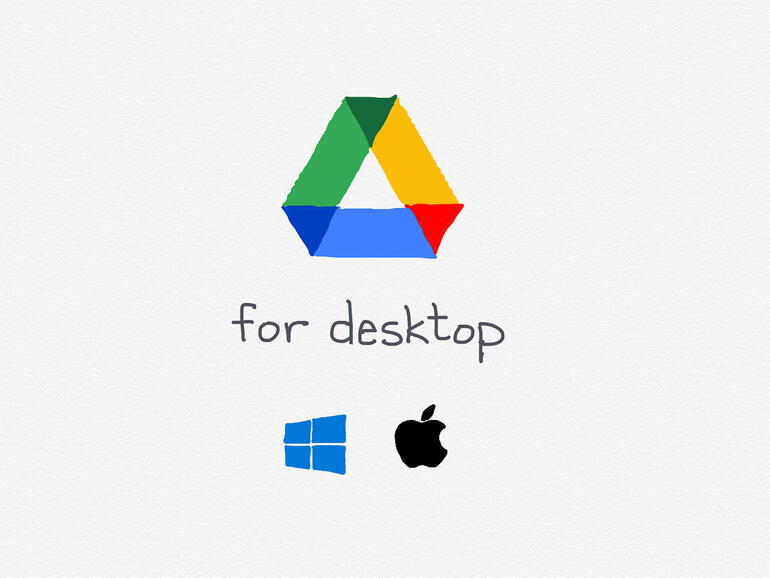 """Drawing of Google Drive logo, with words """"for desktop"""" below it, with a drawn Windows and Apple logo below the words."""
